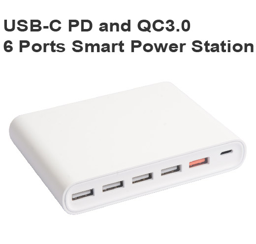 USB-C PD and QC3.0 6 Ports Smart Power Station